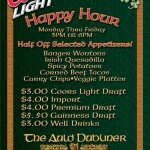Happy Hour at The Auld Dubliner Mon-Fri 3pm-6pm