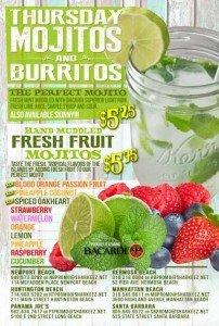 Every Thursday Burritos & Mojitos Happy Hour at Panama Joes