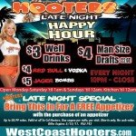 Enjoy Late Night Happy Hour at Hooters Long Beach Every Night 10pm – Close