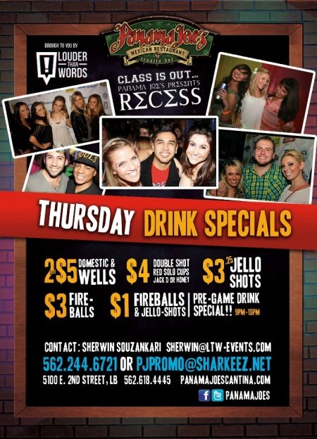 Thursday Drink Specials at Panama Joe's Long Beach (Belmont Shore)