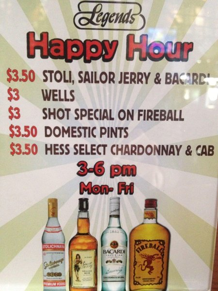 Legends Belmont Shore Daily Happy Hour Specials