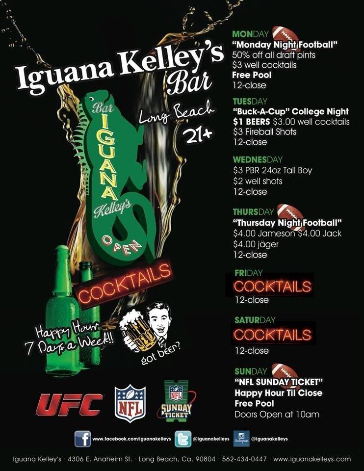 Iguana Kelley's Long Beach Daily Happy Hour Specials 7 Days a Week