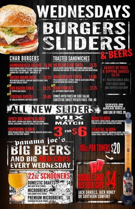 Wednesdays Burgers, Siders & Beer 22oz Schooners & Drink Specials at Panama Joe's Belmont Shore